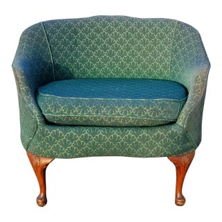 Vintage French Country Green Oversized Accent Chair For Sale