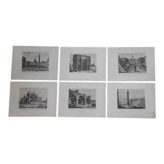 Antique 19th C. Engravings-Views of Rome-Imperial Folio - Set of 6 For Sale