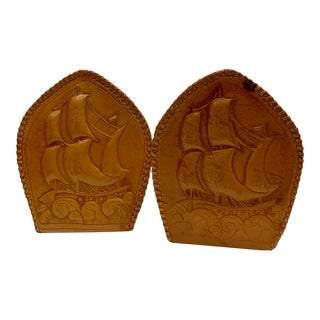 Mid 20th Century Fine Leather Ship Bookends - a Pair For Sale