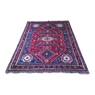 1930's Antique Qashqai Tribal Rug- 5′ × 6′6″ For Sale