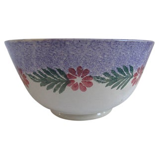 Vintage English Hand-Painted Spongeware Bowl For Sale