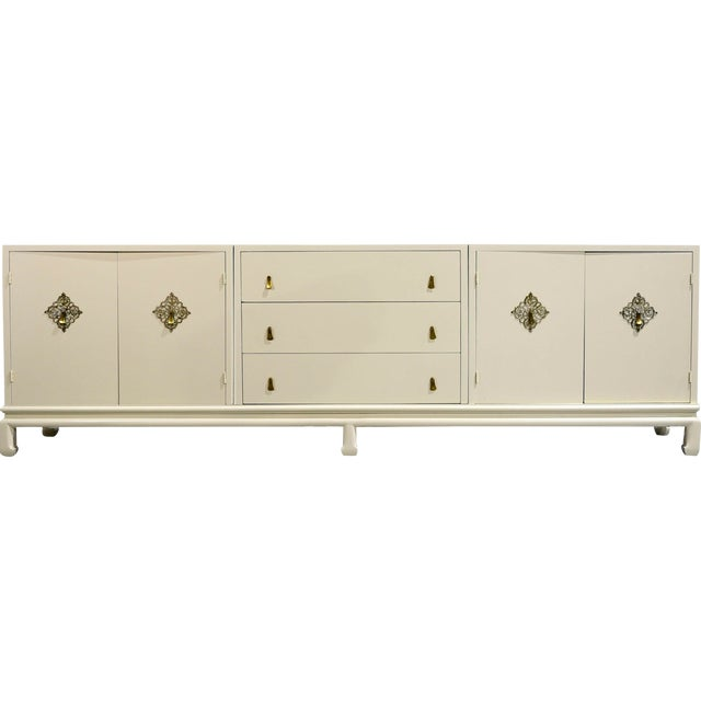 Vintage Chinoiserie Credenza by Mount Airy Furniture - Newly Painted For Sale