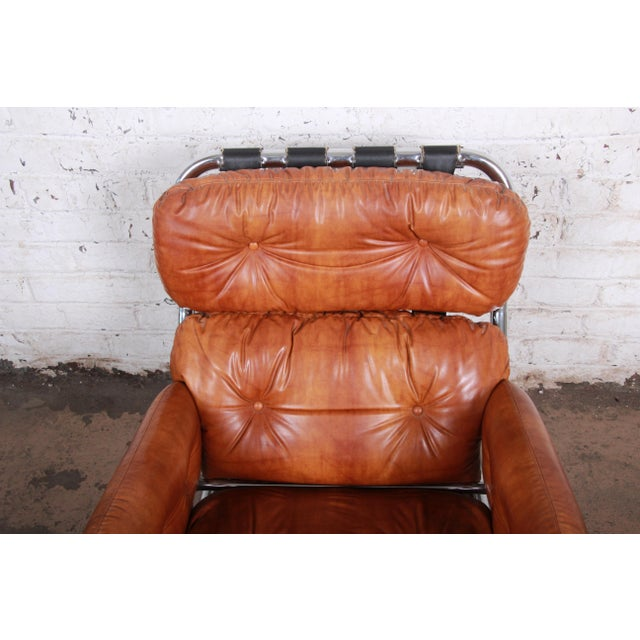 Metal Milo Baughman for Directional Mid-Century Modern Lounge Chair and Ottoman, 1970s For Sale - Image 7 of 13