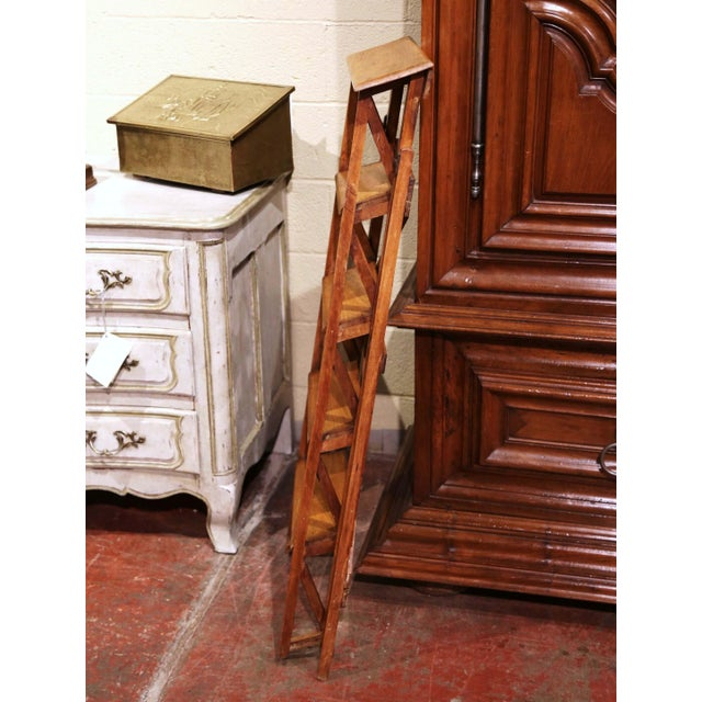 Brown 19th Century French Napoleon III Carved Walnut Folding Library Five-Step Ladder For Sale - Image 8 of 10