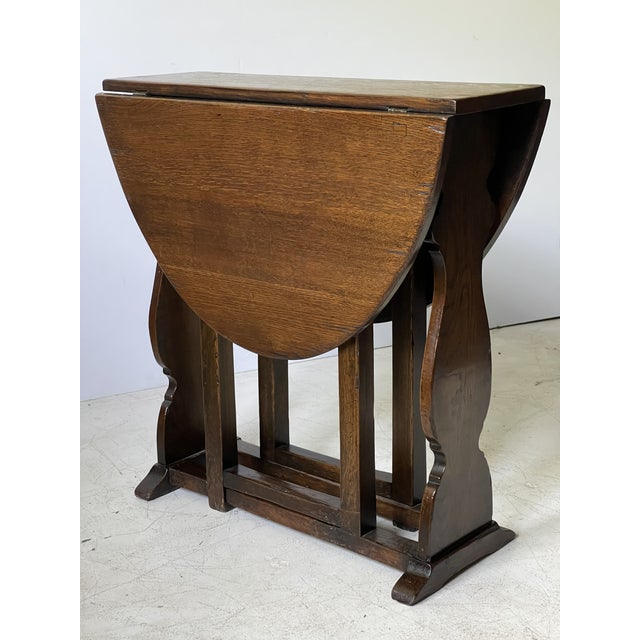 English Dropleaf Trestle Table For Sale - Image 10 of 12
