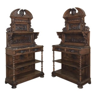 Pair 19th Century Italian Renaissance Walnut Marble Top Hunt Buffets For Sale