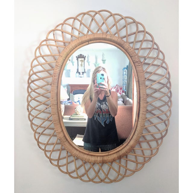 Made in Italy Oval Bent Rattan Sunburst Mirror Palm Springs style Made by Rosenthal Netter Dimensions of actual mirror...