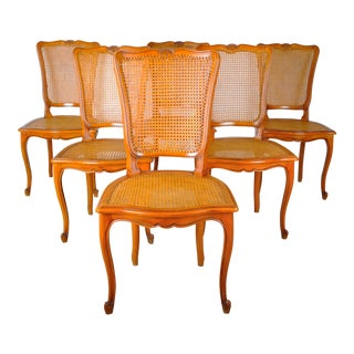 1920s Set of 6 French Louis XV Cherry Cane Dining Chairs For Sale