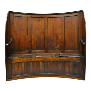 18th Century Antique High Back Curved English Pine Pub Settle Hall Storage Bench For Sale
