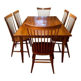 Danish Modern Cherry Table & Chairs - Set of 7 For Sale