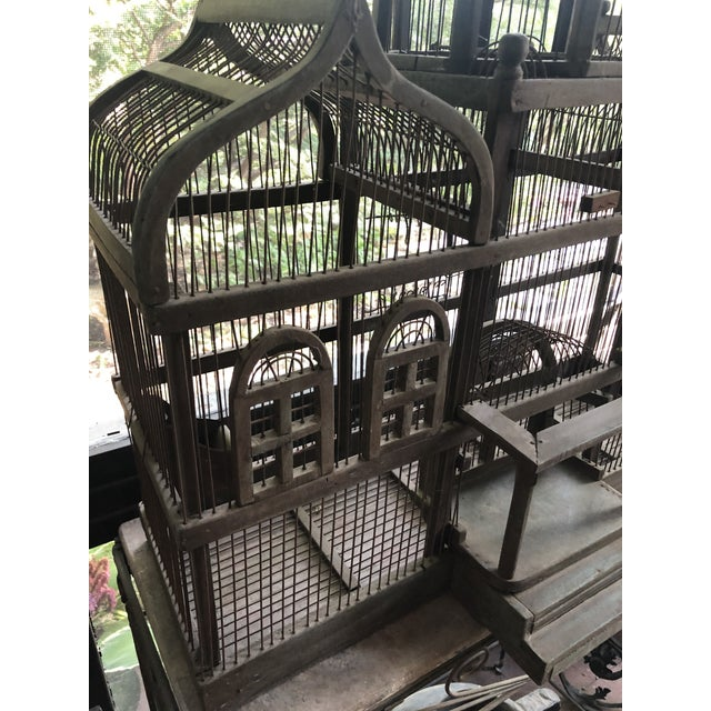 Antique Victorian Iron Wire & Wood Mansion Style English Folk Art Bird Cage For Sale - Image 10 of 13