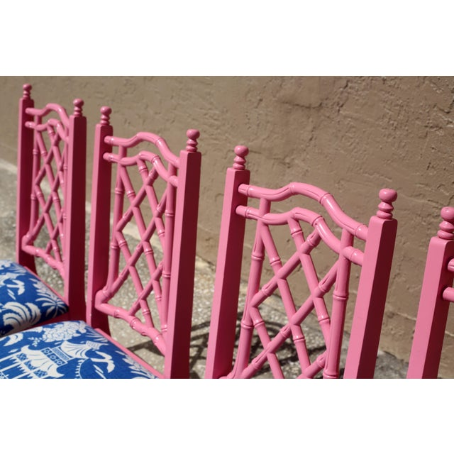 Fabric Vintage Faux Bamboo Dining Chairs - Set of 4 For Sale - Image 7 of 13