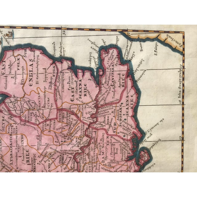 Hollywood Regency Antique 1695 Framed Map of Saxon England & Wales For Sale - Image 3 of 7