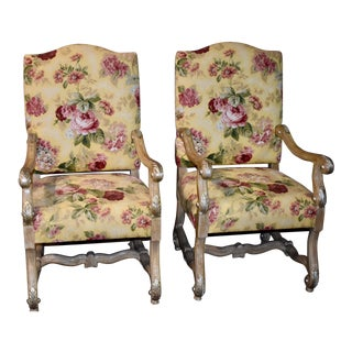 1970s Vintage Tuscan Style High Back Floral Accent Chairs- A Pair For Sale