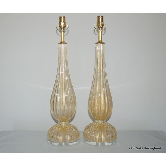 Murano Vintage Murano Glass Table Lamps Gold For Sale - Image 4 of 10