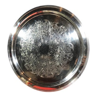 Vintage 20 Inch Vintage Silver Plated Serving Tray Etched Floral Swirls-Barware Large For Sale