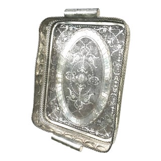 Vintage Large Silver Plated Anglo-Indian Butlers Gallery Tray For Sale