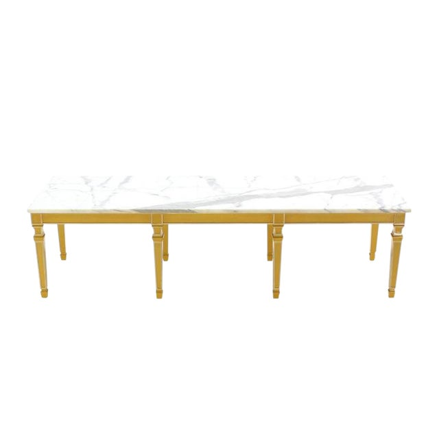 Marble Eight Legged Marble-Top Long Rectangular Coffee Display Table For Sale - Image 7 of 7