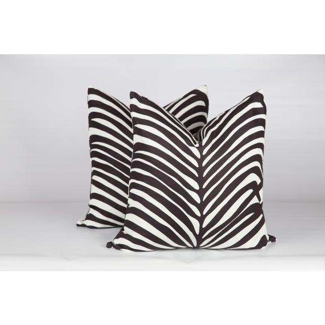 Schumacher Zebra Palm Pillows, a Pair For Sale - Image 4 of 5