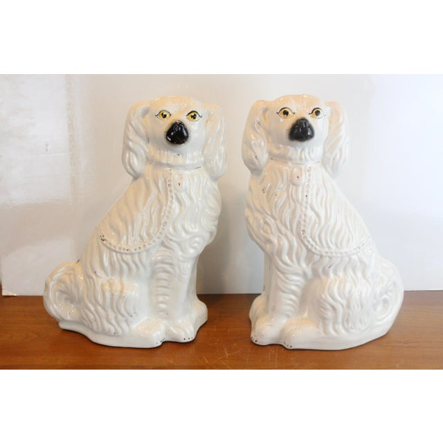 White Vintage White Staffordshire Dog Figurines - a Pair For Sale - Image 8 of 8