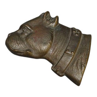 Late 19th Century Bradley & Hubbard Bull Terrier Bronze Paper Weight For Sale
