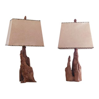 1960s Mid Century Cypress Knee Table Lamp Set With Shades - a Pair For Sale