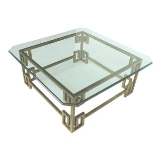 1970s Hollywood Regency Brass and Glass Cocktail Table Attributed to Mastercraft For Sale