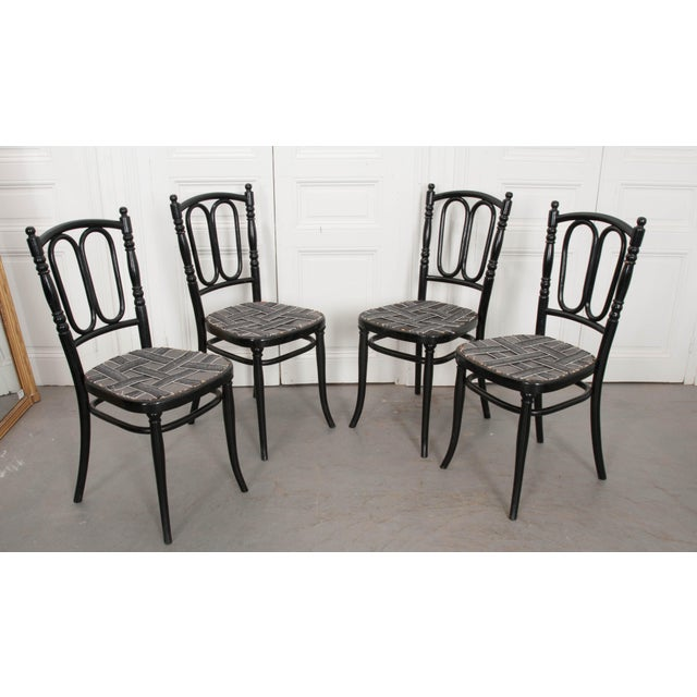 Black Set of Four Ebony Thonet Bentwood Side Chairs For Sale - Image 8 of 13
