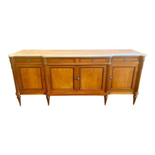 Directoire Louis XVI Style Scale Blonde Mahogany Sideboard For Sale