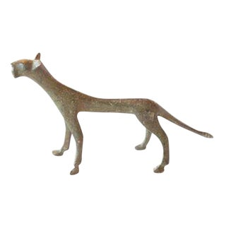 Vintage African Bronze Casting of Panther
