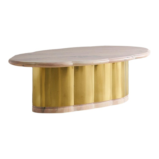 Pink Marble and Brass Coffee Table With Scalloped Base For Sale