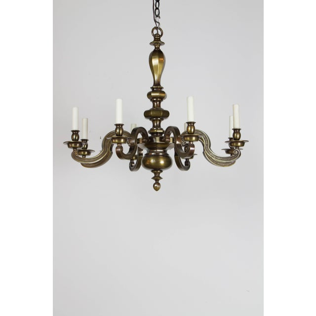 Eight Light Antique Brass Chandelier For Sale - Image 9 of 9