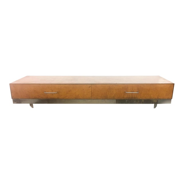 Mid-Century Burlwood Floating Console Table, Desk For Sale