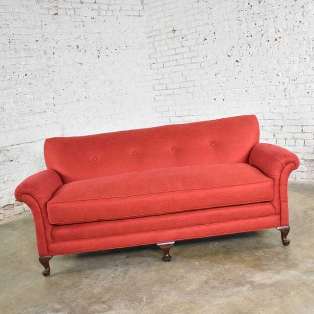 Traditional Red Smaller Size Lawson Sofa With Rolled Arms Down Bench Seat and Tight Back For Sale - Image 3 of 13