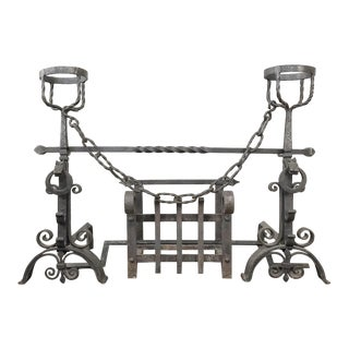 19th Century Wrought Iron Andiron Fireplace Set For Sale