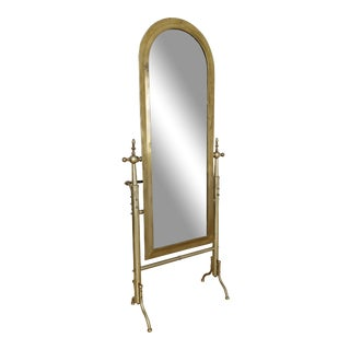 1960s Vintage French Brass Cheval Dressing Mirror For Sale