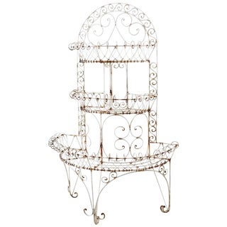 French Demilune Three-Tier Iron Wire Plant Stand For Sale