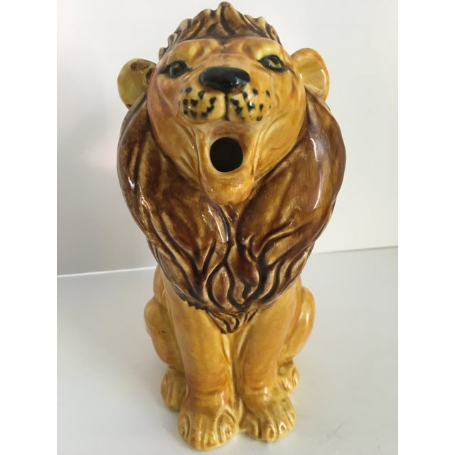 Vintage Italian Hand Painted Roaring Lion Pitcher For Sale - Image 6 of 11