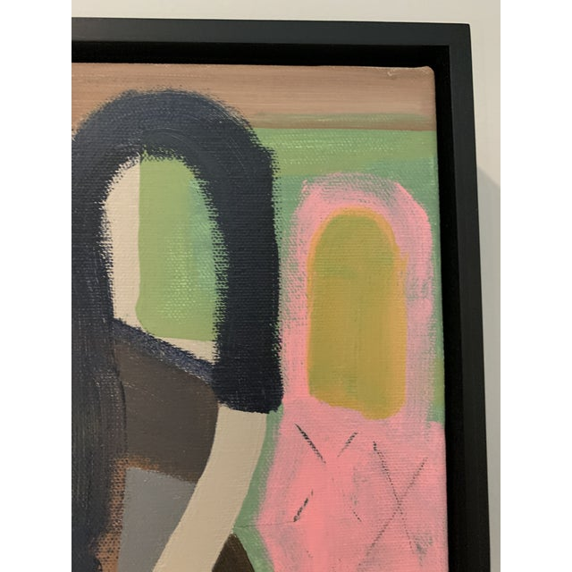 Contemporary Abstract Black Floater Framed Original Painting For Sale - Image 4 of 9