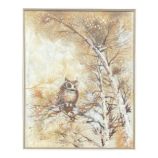 Lee Reynolds Owl Painting For Sale