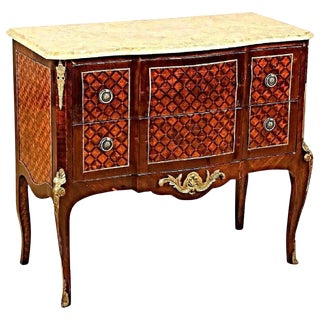 Bronze Mounted Marquetry Louis XVI Marble Top Commode