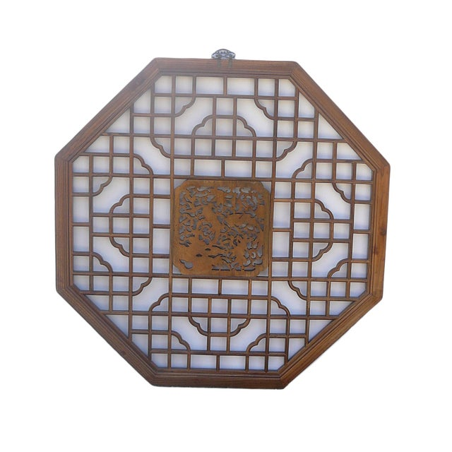 Chinese Octagonal Bird Scene Wood Wall Decor - Image 4 of 5