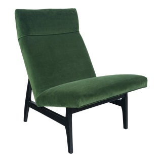 Green Velvet Jens Risom Slipper Chair For Sale