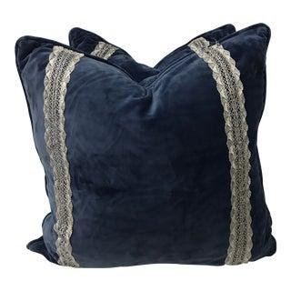 Blue Contemporary Custom Velvet Pillows - A Pair