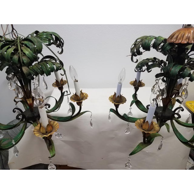 Vintage Pair of Hanging Colorful Leaf/Frond Lights - Flush Mount Ceiling We liked this pair of hanging ceiling lights...