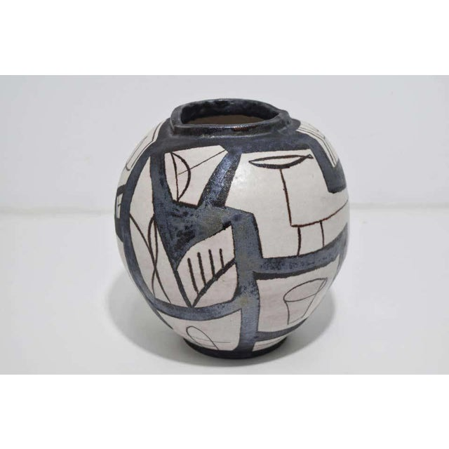 Ovoid Vessel With Geometric Design in Style of Guido Gambone, 2011 For Sale - Image 4 of 9