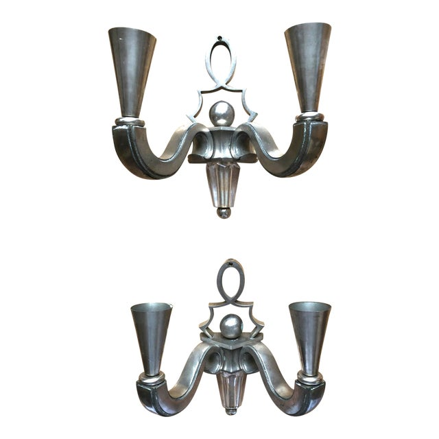 Genet Michon Pair of Solid Silvered Bronze Sconces For Sale