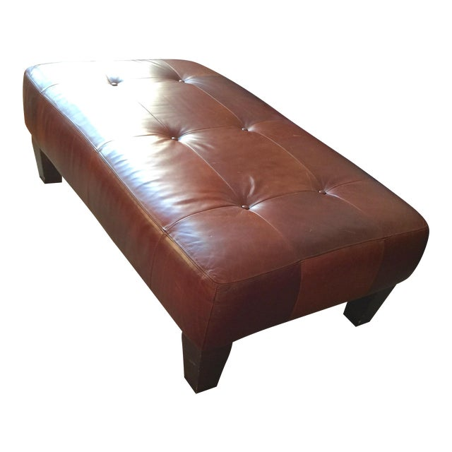 Pottery Barn Leather Ottoman - Image 1 of 3