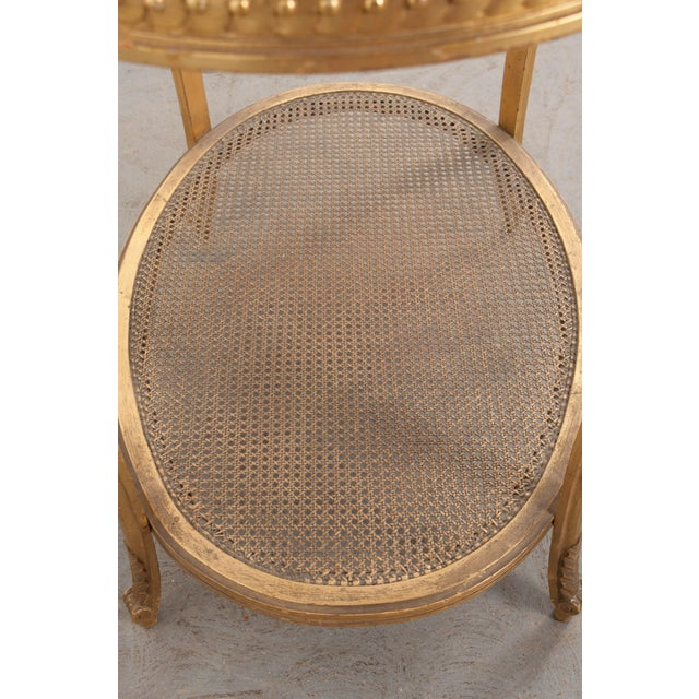 French 19th Louis XVI Style Oval Giltwood Occasional Table For Sale - Image 12 of 13