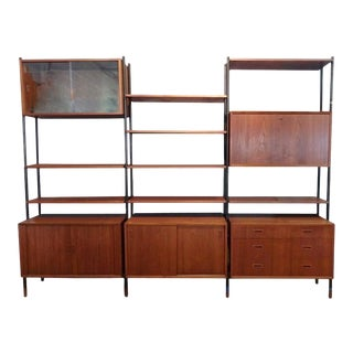 Arne Vodder Attributed Steel Frame Danish Teak Modular Wall Unit Room Divider For Sale